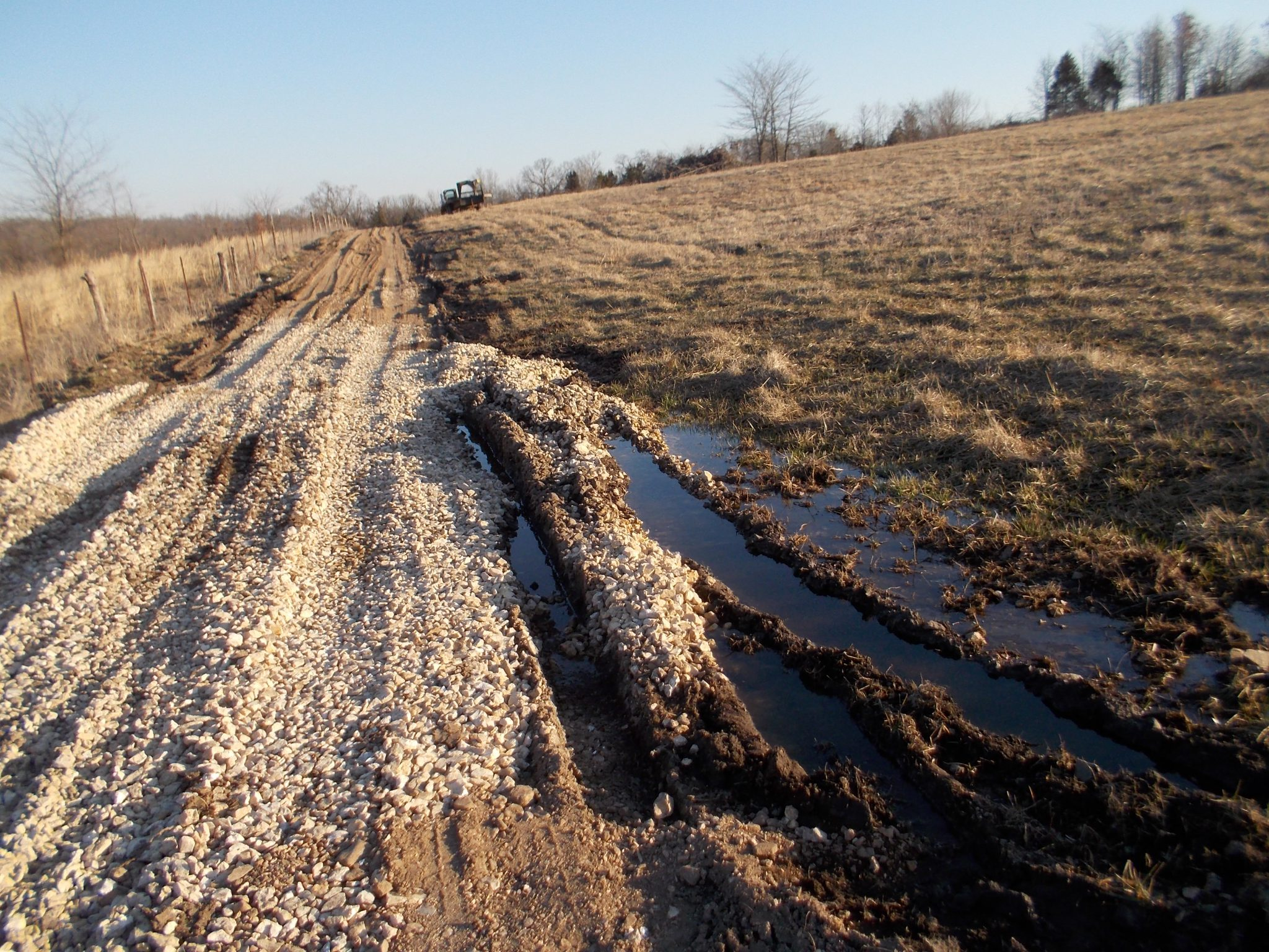 New gravel in a soft spot on the trail to the silo.