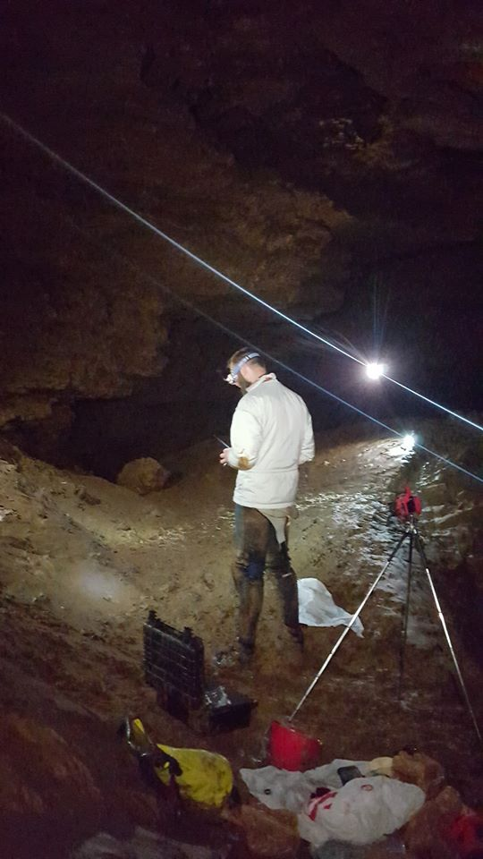 Josh Hafner flying his drone in Carroll Cave.